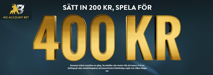 No Account Bet - Ny bookmaker i Sverige