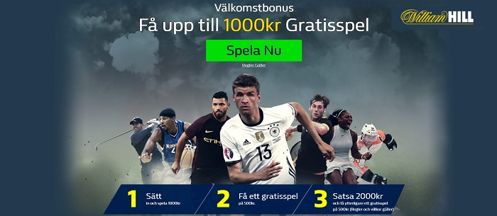 WilliamHill bookmaker med 1000 kr i oddsbonus